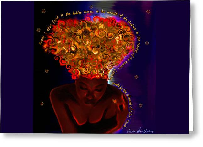 Greeting Card featuring the digital art Oya by Iowan Stone-Flowers