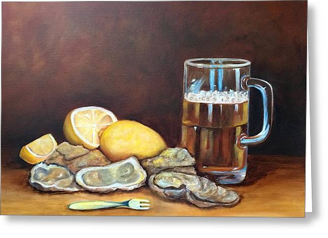 Oysters And Beer Greeting Card by Susan Dehlinger