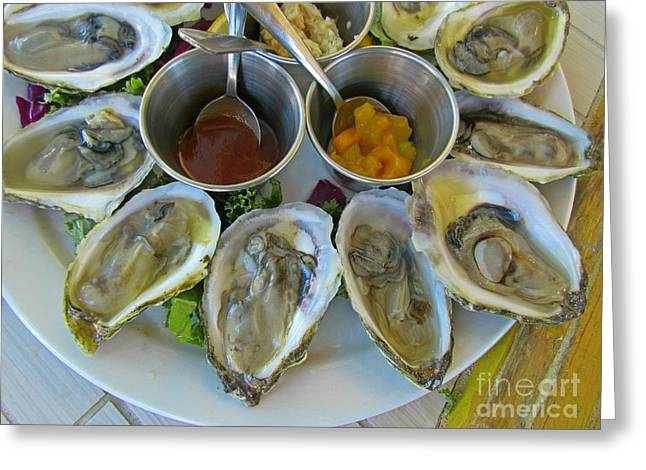 Oysters In Season Greeting Card by John Malone