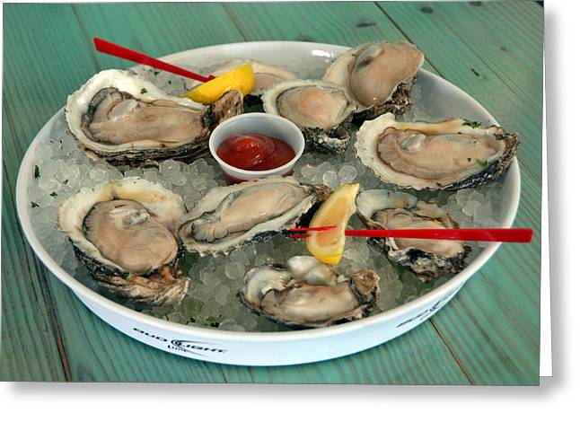 Oysters On The Half Shell Greeting Card by Carla Parris