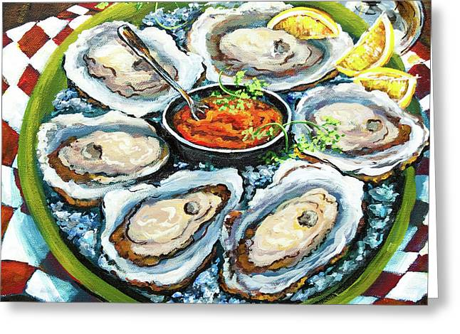 Oysters On The Half Shell Greeting Card by Dianne Parks