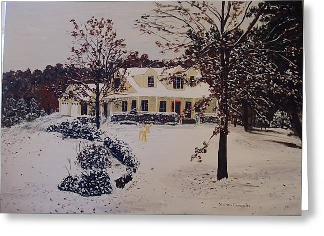 Rudolph Paintings Greeting Cards - Ozark House Christmas Snow Greeting Card by Sharon  De Vore