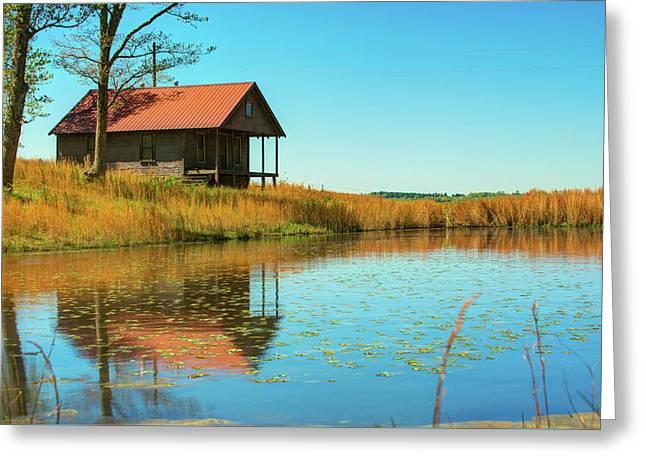 Ozark Mountain House Reflections - Arkansas Greeting Card by Gregory Ballos
