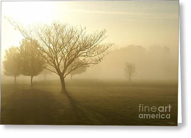 Ozarks Misty Golden Morning Sunrise Greeting Card