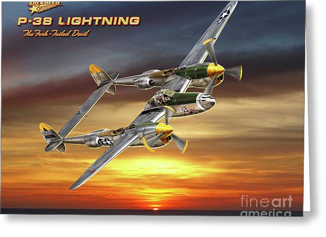 P-38 Lightning At Sunset Greeting Card by Larry Grossman