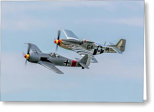 P-51 Fw-190 Rare Formation Greeting Card