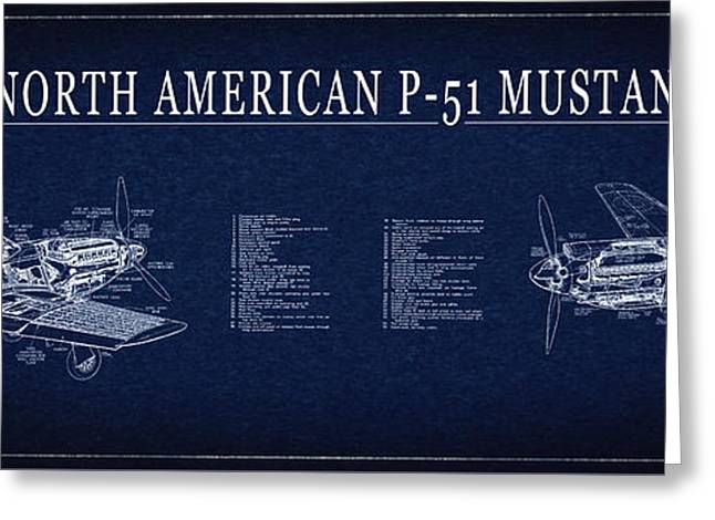 P-51 Mustang Fighter Blueprint Greeting Card