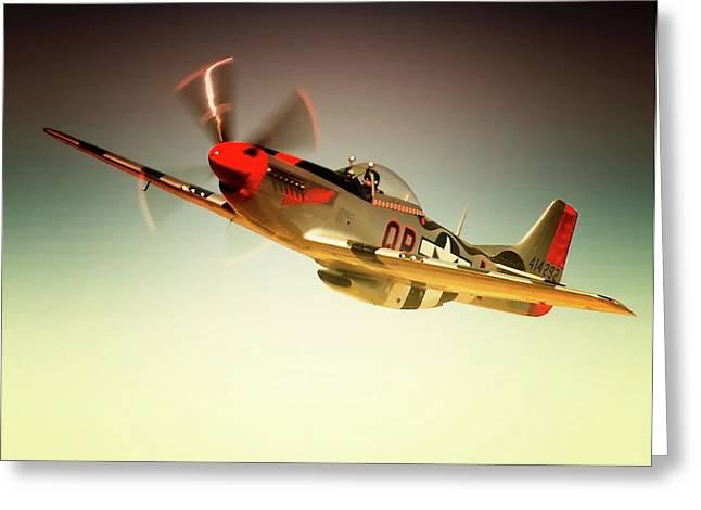 North American Aviation Greeting Cards - P-51 Mustang Man O War Greeting Card by Gus McCrea