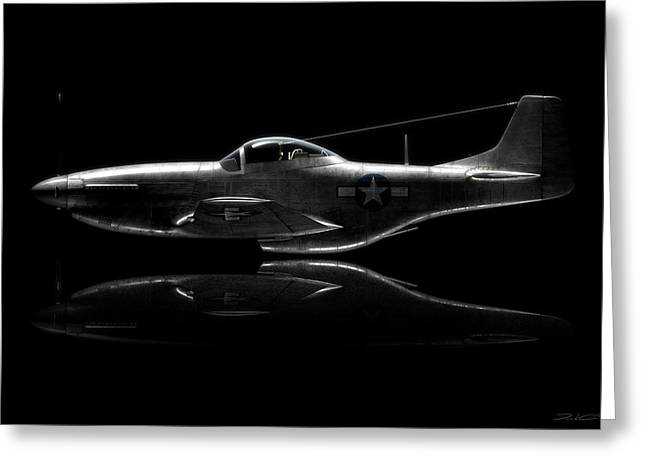 P-51 Mustang Profile Greeting Card by David Collins