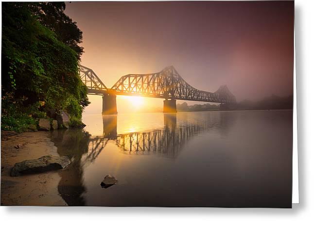 P And Le Ohio River Railroad Bridge Greeting Card
