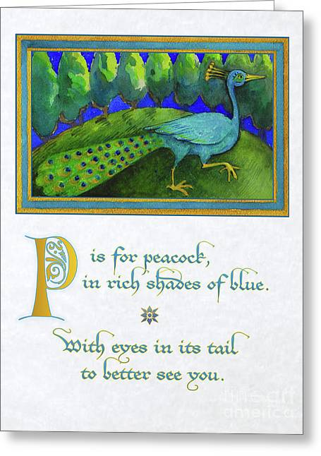 Greeting Card featuring the painting P Is For Peacock by Lora Serra