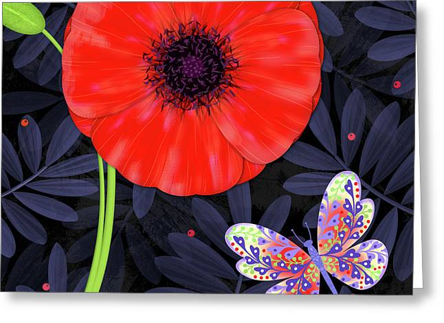 P Is For Pretty Poppy Greeting Card