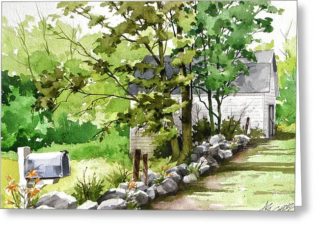 Mailbox 'n Barn Greeting Card by Art Scholz