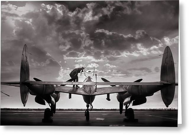 P38 Sunset Mission Greeting Card by Peter Chilelli