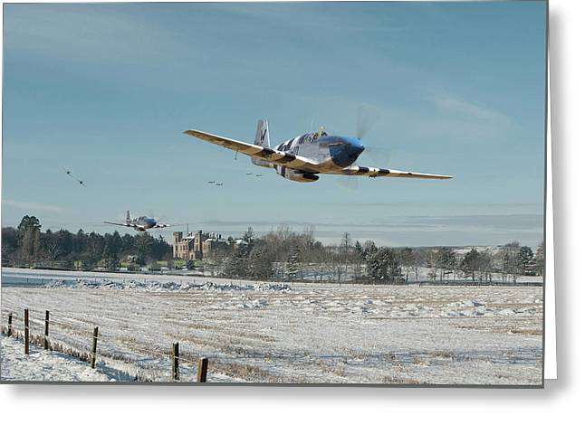 Greeting Card featuring the digital art P51 Mustang - Bodney Blue Noses by Pat Speirs