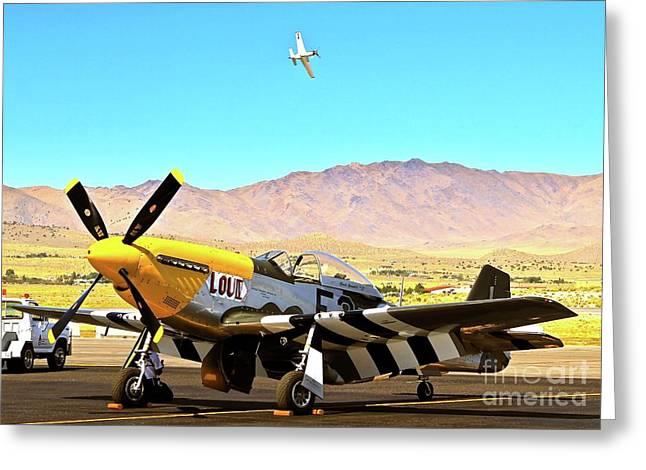 P51 Mustangs Lou Iv And Strega 2010 Reno Air Races Greeting Card by Gus McCrea