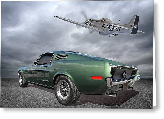 P51 With Bullitt Mustang Greeting Card