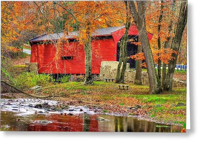 Pa Country Roads- Bartrams / Goshen Covered Bridge Over Crum Creek No.11 Chester / Delaware Counties Greeting Card