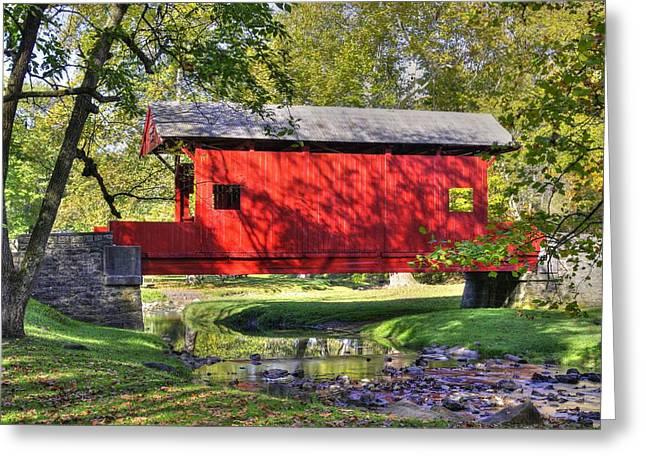 Pa Country Roads - Ebenezer Covered Bridge Over Mingo Creek No. 11b - Autumn Washington County Greeting Card