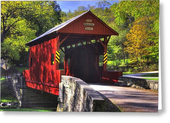 Pa Country Roads - Ebenezer Covered Bridge Over Mingo Creek No. 2a - Autumn Washington County Greeting Card