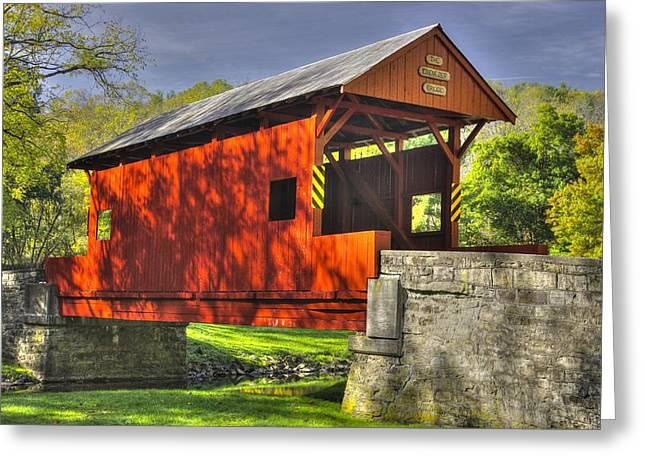 Pa Country Roads - Ebenezer Covered Bridge Over Mingo Creek No. 6a - Autumn Washington County Greeting Card