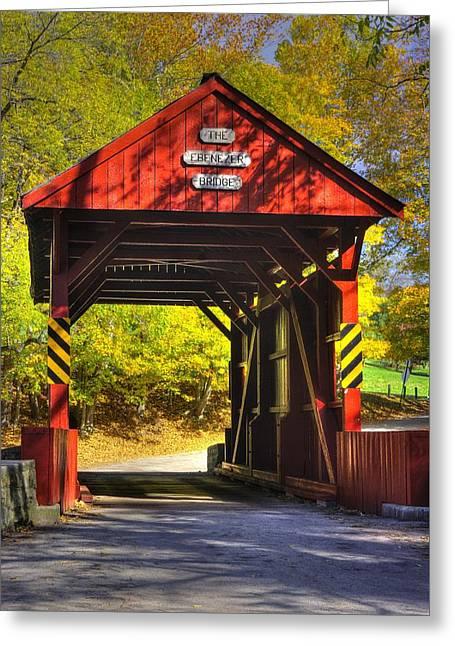 Pa Country Roads - Ebenezer Covered Bridge Over Mingo Creek No. 8 - Autumn Washington County Greeting Card