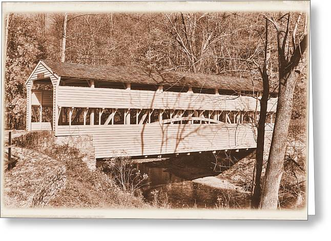 Pa Country Roads - Knox Covered Bridge Over Valley Creek No. 2as - Valley Forge Park Chester County Greeting Card
