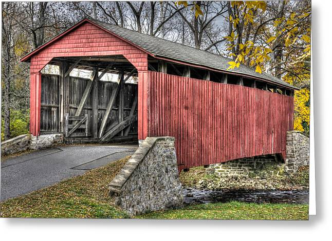 Pa Country Roads - Poole Forge Covered Bridge Over Conestoga Creek No. 3b-alt - Lancaster Greeting Card