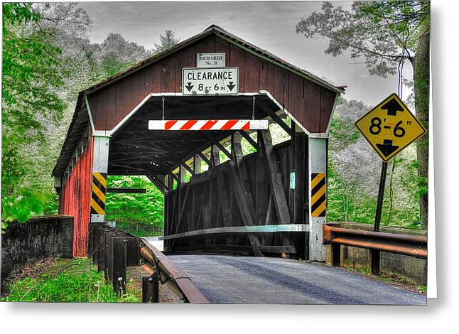 Pa Country Roads - Richards Covered Bridge Over Roaring Creek No. 6b-alt - Columbia County Greeting Card by Michael Mazaika