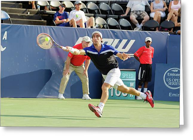 Pablo Cuevas Plays At The Winston-salem Open Greeting Card by Bryan Pollard