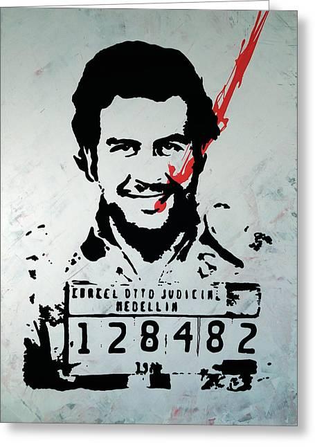 Street Art Painting, Stencil-graffiti Style, Pablo Escobar - Urban Figure Greeting Card