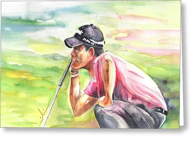 Pablo Larrazabal Winning The Bmw Open In Germany In 2011 Greeting Card by Miki De Goodaboom