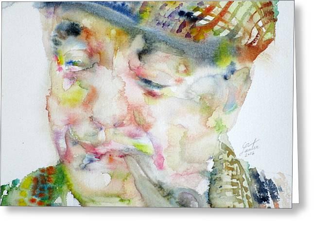 Pablo Neruda - Watercolor Portrait.6 Greeting Card