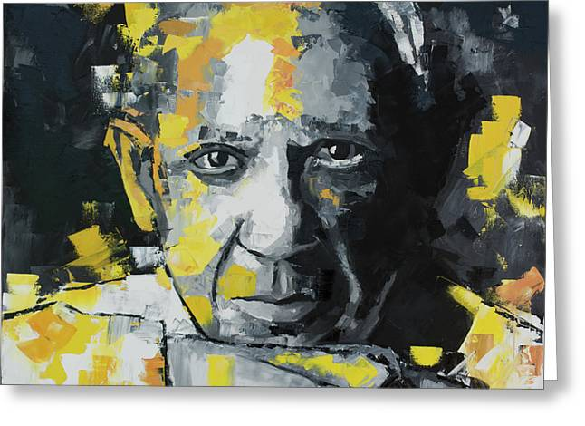 Pablo Picasso Portrait Greeting Card by Richard Day