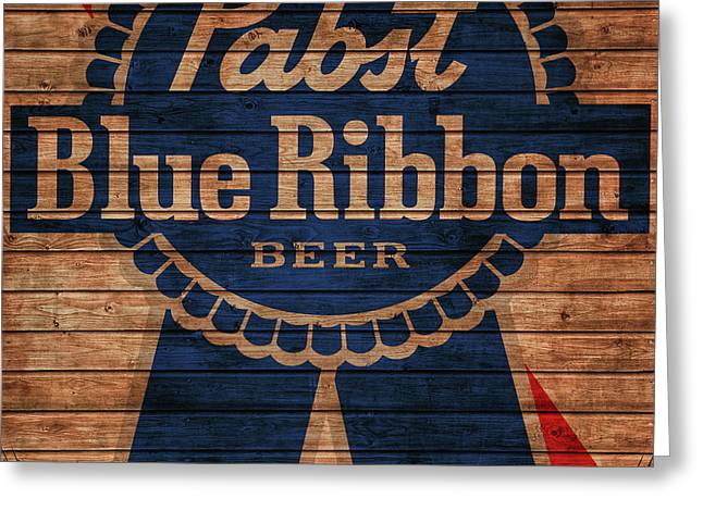 Pabst Blue Ribbon Barn Door Greeting Card by Dan Sproul