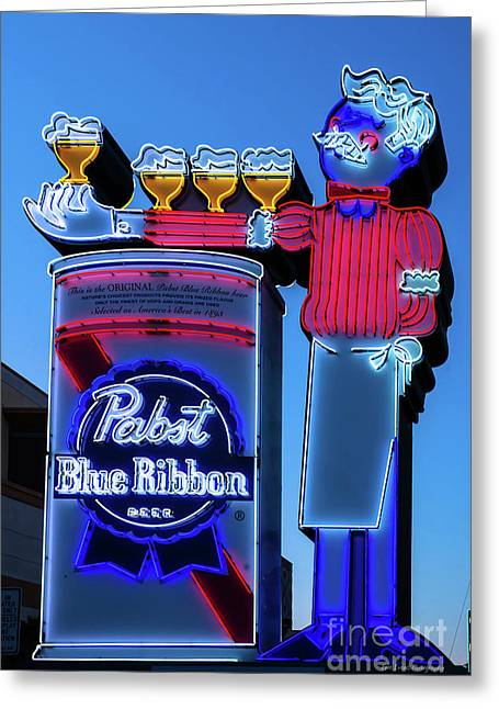 Pabst Blue Ribbon Neon Sign Fremont Street Greeting Card