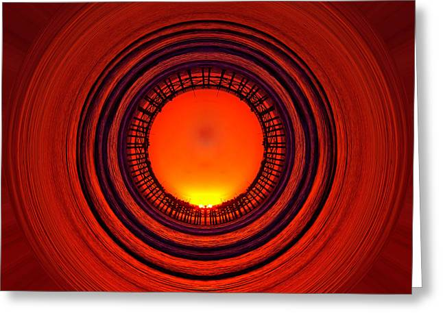 Sunset Abstract Photographs Greeting Cards - Pacific Beach Pier Sunset - Abstract Greeting Card by Peter Tellone