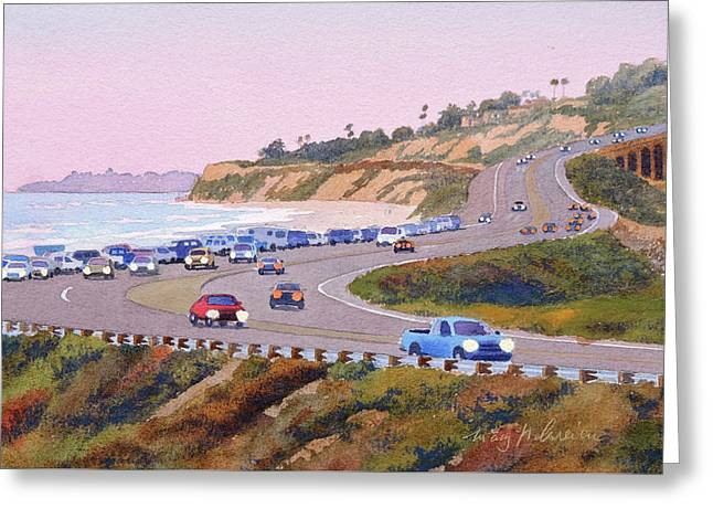 Pacific Coast Hwy Del Mar Dusk Greeting Card by Mary Helmreich