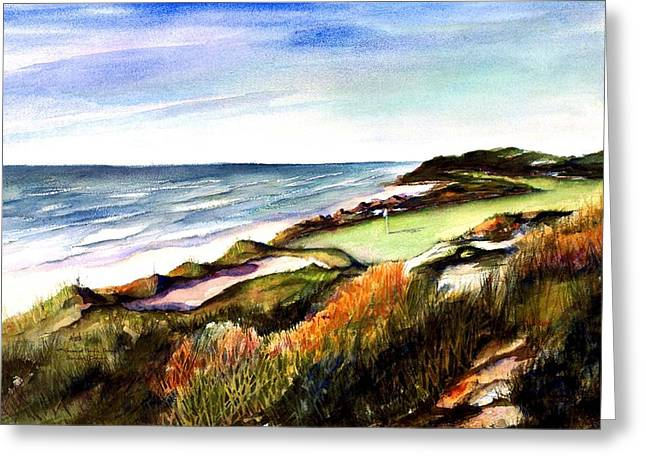 Greeting Card featuring the painting Pacific Dunes Golf Course by Marti Green