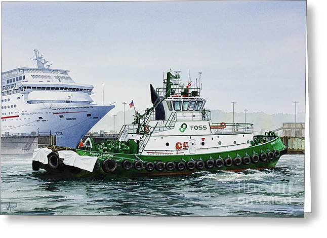 Greeting Card featuring the painting Pacific Escort Cruise Ship Assist by James Williamson