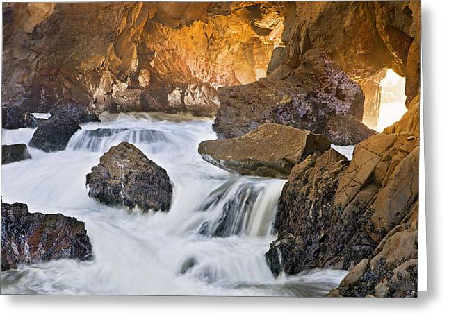 Best Sellers -  - Pfeiffer Beach Greeting Cards - Pacific Flows Through Hole in Rocks Greeting Card by Ian Frazier