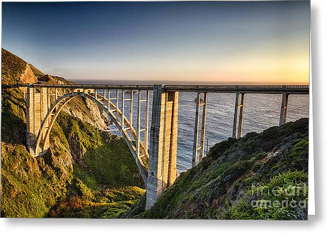 Pacific Highway Bridge Greeting Card by George Oze