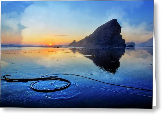 Pacific Low Tide Greeting Card by Debra and Dave Vanderlaan