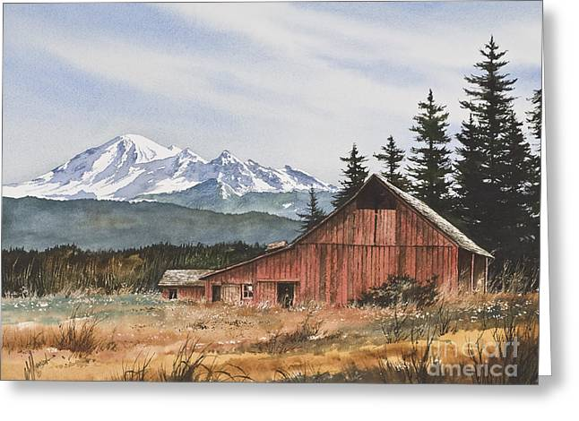 Barn Print Greeting Cards - Pacific Northwest Landscape Greeting Card by James Williamson