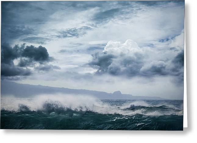 Greeting Card featuring the photograph He Inoa Wehi No Hookipa  Pacific Ocean Stormy Sea by Sharon Mau