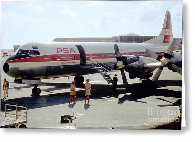 Pacific Southwest Airlines Lockheed L-188c, N376ps Greeting Card