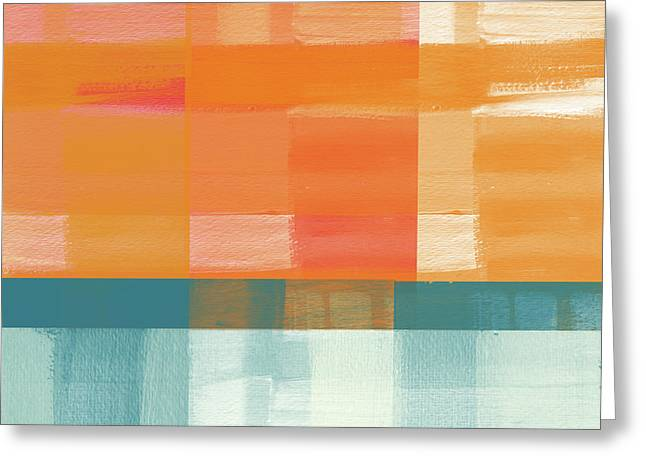 Pacific Sunset 2- Abstract Art By Linda Woods Greeting Card