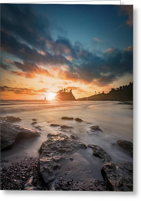 Greeting Card featuring the photograph Pacific Sunset At Olympic National Park by William Lee