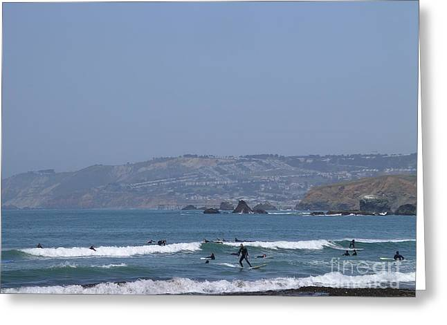 Greeting Card featuring the photograph Pacifica Surfing by Cynthia Marcopulos