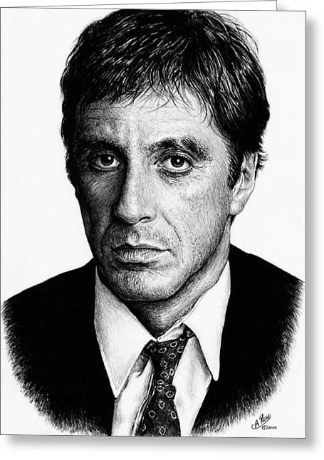 Pacino Scarface Greeting Card by Andrew Read